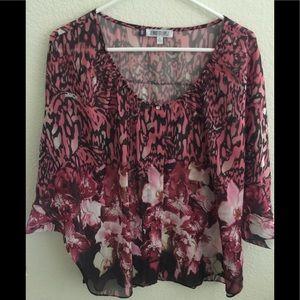 Jennifer Lopez Pink Floral/Animal Print Blouse